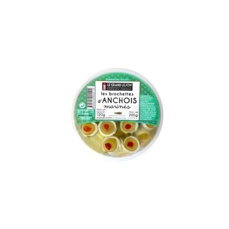 Brochettes aux anchois marinés