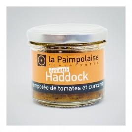 Émietté de haddock, compotée de tomates et curcuma