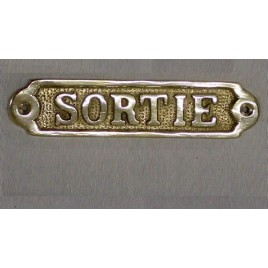 "Plaque en laiton ""sortie"""