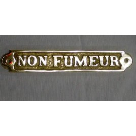 "Plaque en laiton ""non fumeur"""