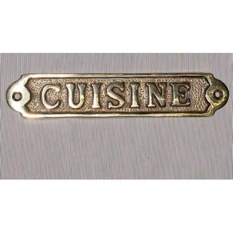 """Plaque en laiton """"cuisine"""""""