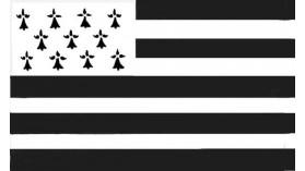 Grand drapeau breton en polyester avec anneaux - 150 x 90 cm