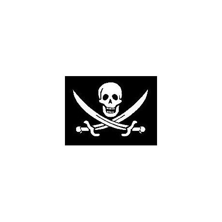 Drapeau pirate en polyester avec anneaux - 150 x 90 cm